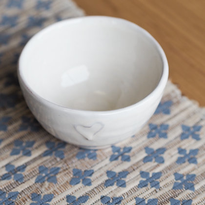 Small Cream Dipping Bowl With Love Heart Detail