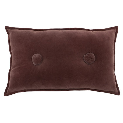 Rock Rose Velvet Touch Cushion With Pompom Detail