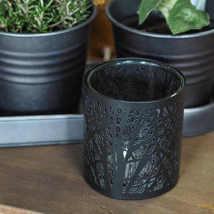 Black Forset Metal + Glass Tealight Holder