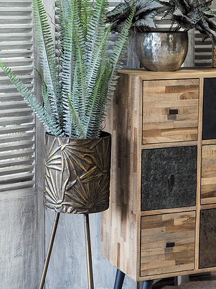 Tall Textured Metal Bronze Planter On Legs