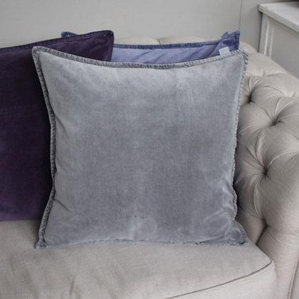 Stonewashed Antique Grey Velvet Cushion