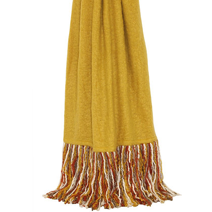 Ochre Throw With Orange, Grey + White Tassel Detailing