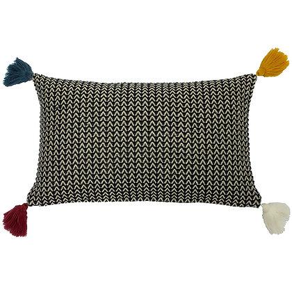 Rhia Monochrome Cushion With Multicoloured Tassel Detail