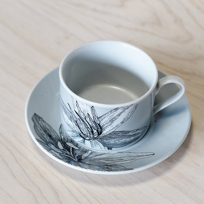 Grey + White Illustrated Lily Cup + Saucer Set