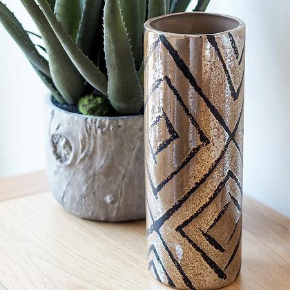 Copper + Black Metallic Vase With Geometric Print