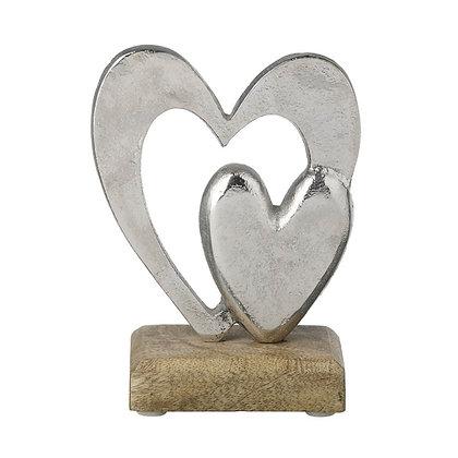 Silver + Wood Heart Decorative Accessory