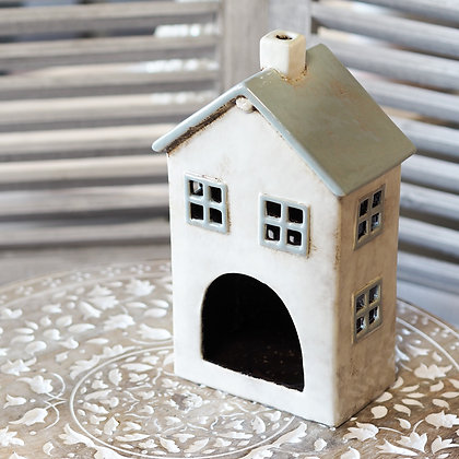 Grey + White Mulberry House Tealight Holder