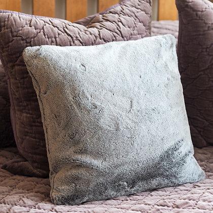 Faux Fur Cushion in Silver Grey