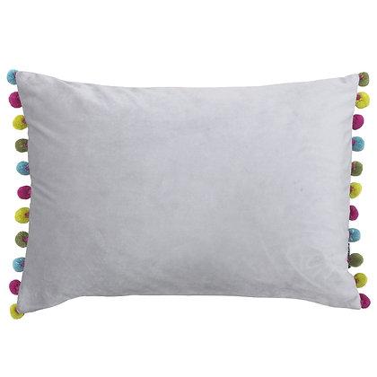 Silver & Multi-Coloured Velvet Touch Pom-Pom Cushion