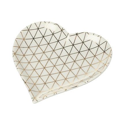 White + Gold Geometric Print Heart Plate