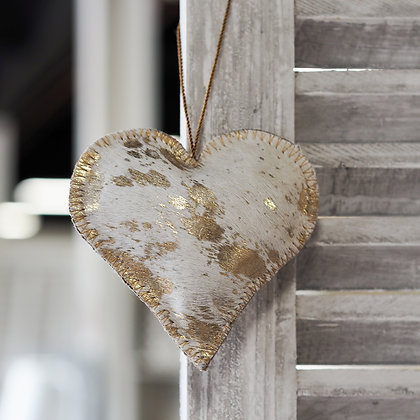 Cream + Metallic Gold Cosima Cow Hide Hanging Love Heart