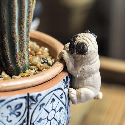 Beige + Black Pug Dog Pot Hanger