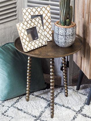 Dark Metallic Gold Textured 'Marla' Side Table