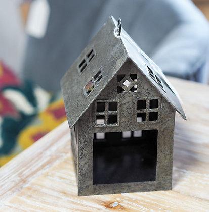 Small Dark Grey Metal House Tealight Holder