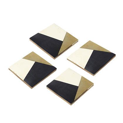 Black, Gold + White Geometric Ritz Coasters (Set of 4)
