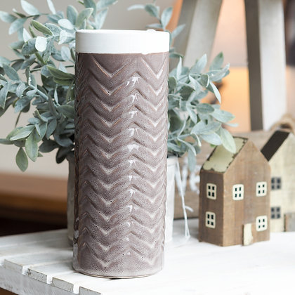 Handcrafted Brown + Cream Zigzag Tall Vase