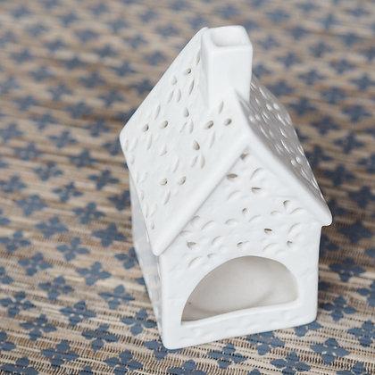 White Ceramic House Tealight Holder