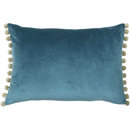 Petrol Blue Velvet Touch Pom-Pom Cushion