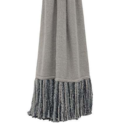 Grey Throw With Duck Egg, Blue + Grey Tassel Detailing
