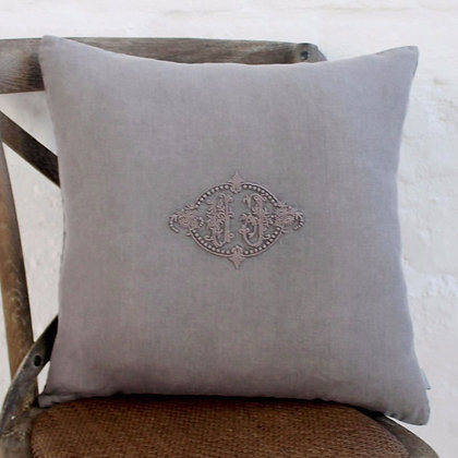 Vintage Taupe Mono Cushion