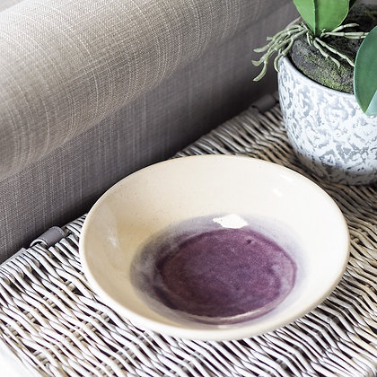 Purple + Cream Watercolour Artisan Style Serving Bowl