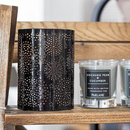 Venice Black + Gold Laser Cut Candle Holder