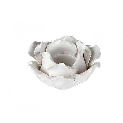 White Glazed Flower Tealight Holder