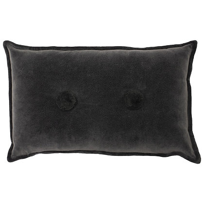 Charcoal Velvet Touch Cushion With Pompom Detail