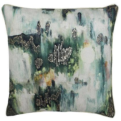 Green Monet Watercolour Print Cushion