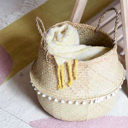 Natural Woven Seagrass Storage Basket With Pompom Detail