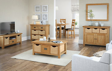 Oak living room furniture Bingley | Oak basket furniture