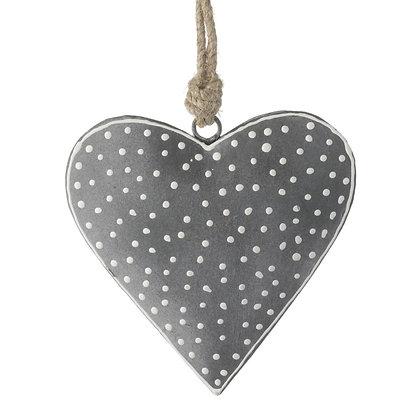 Grey + White Polka Dot Heidi Hanging Heart