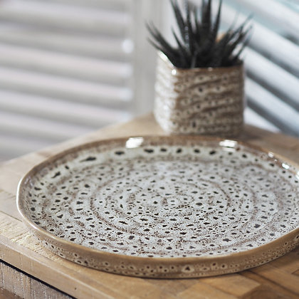 Brown Speckled Serving Tray/Plate