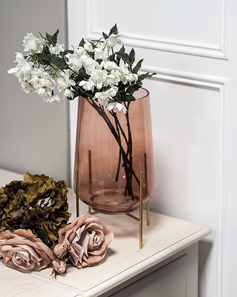 Large Pink Glass Vase With Gold Stand
