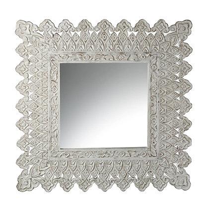 White Wash Carved Mirror