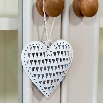 White Metal Hanging Love Heart Accessory