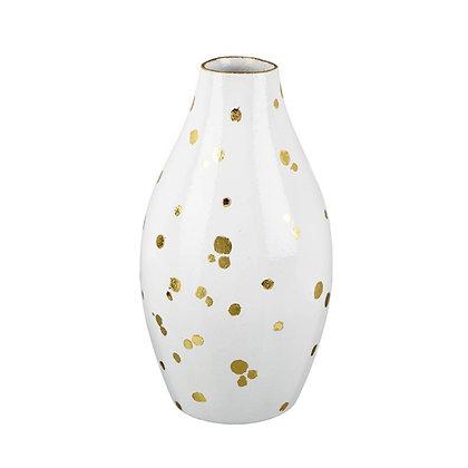 Tall White + Gold Polka Dot Vase