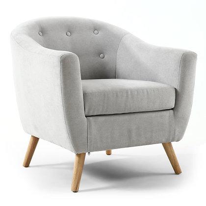 Silver Grey Button Tub Chair