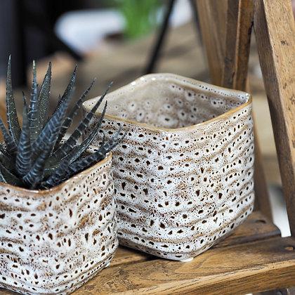 Artisan-Inspired Square Brown Ceramic Vase