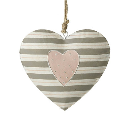 Metal Hanging Heart With Stripes