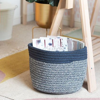 Blue + White Oakley Cotton Storage Basket