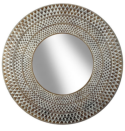 Carved Cream Round Mirror