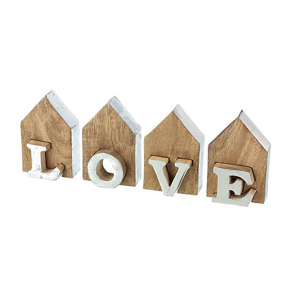 Silver + Wood LOVE Decorative Sign