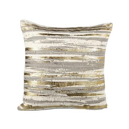 Square Grey + Cream Cushion With Gold Etch Detailing
