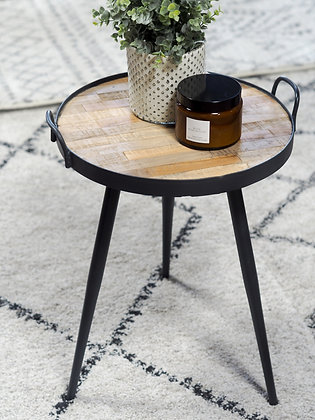 Black Metal & Recycled Teak Side Table
