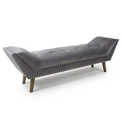 Large Grey Velvet Chaise