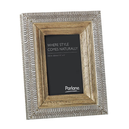 "Silver + Wood Muskan Photo Frame 4 x 6"""