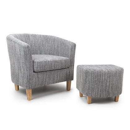 Grey Tweed Tub Chair Set