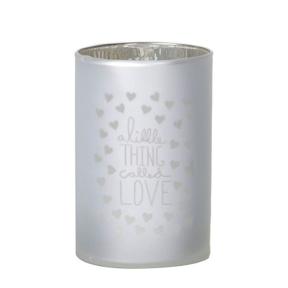 A Little Thing Called Love Frosted Glass Candle Holder