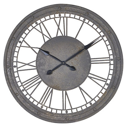 Grey Metal Numerals Clock